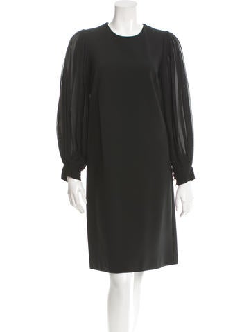Gucci Pleated Sleeve Knee-Length Dress