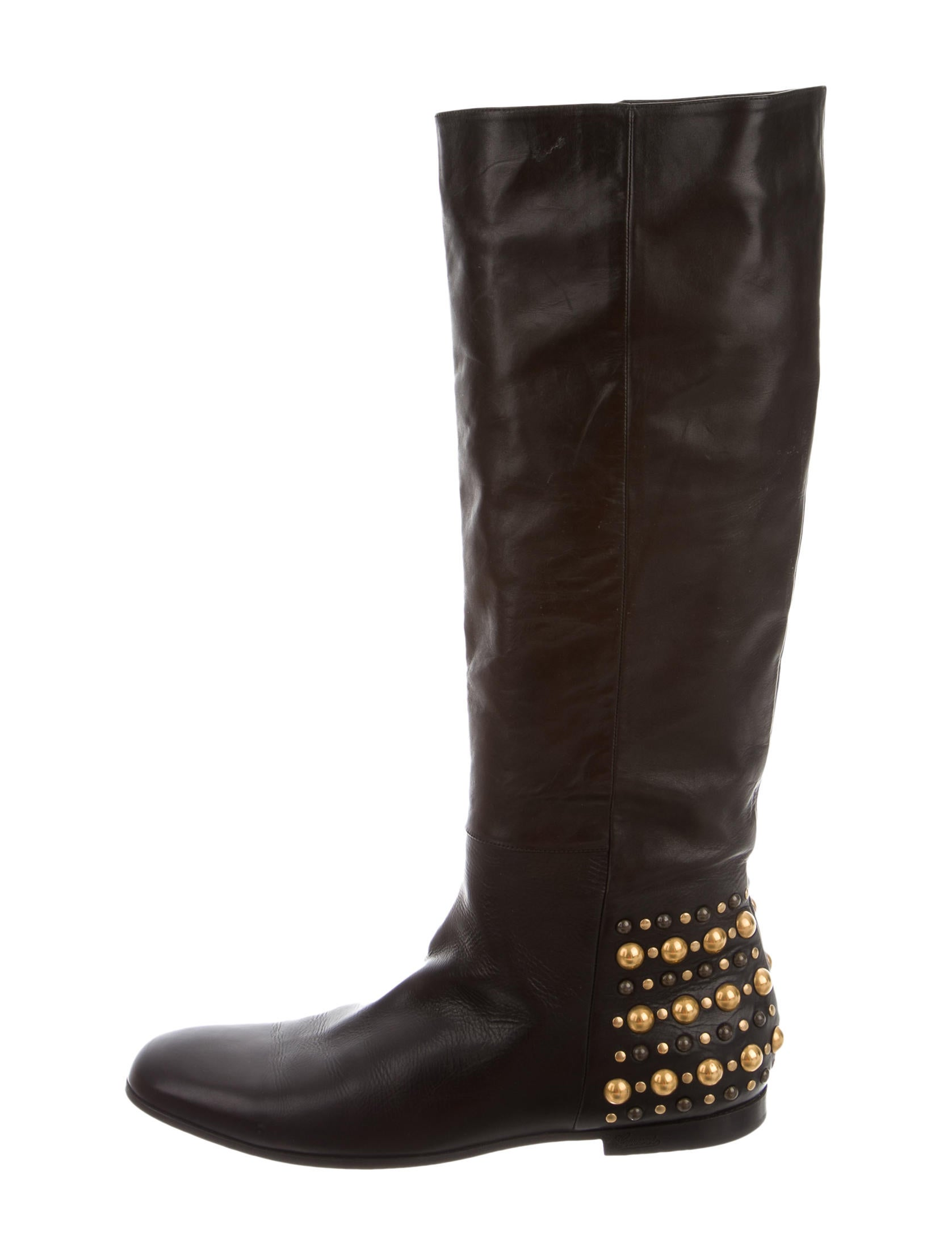 gucci studded leather boots shoes guc105316 the realreal