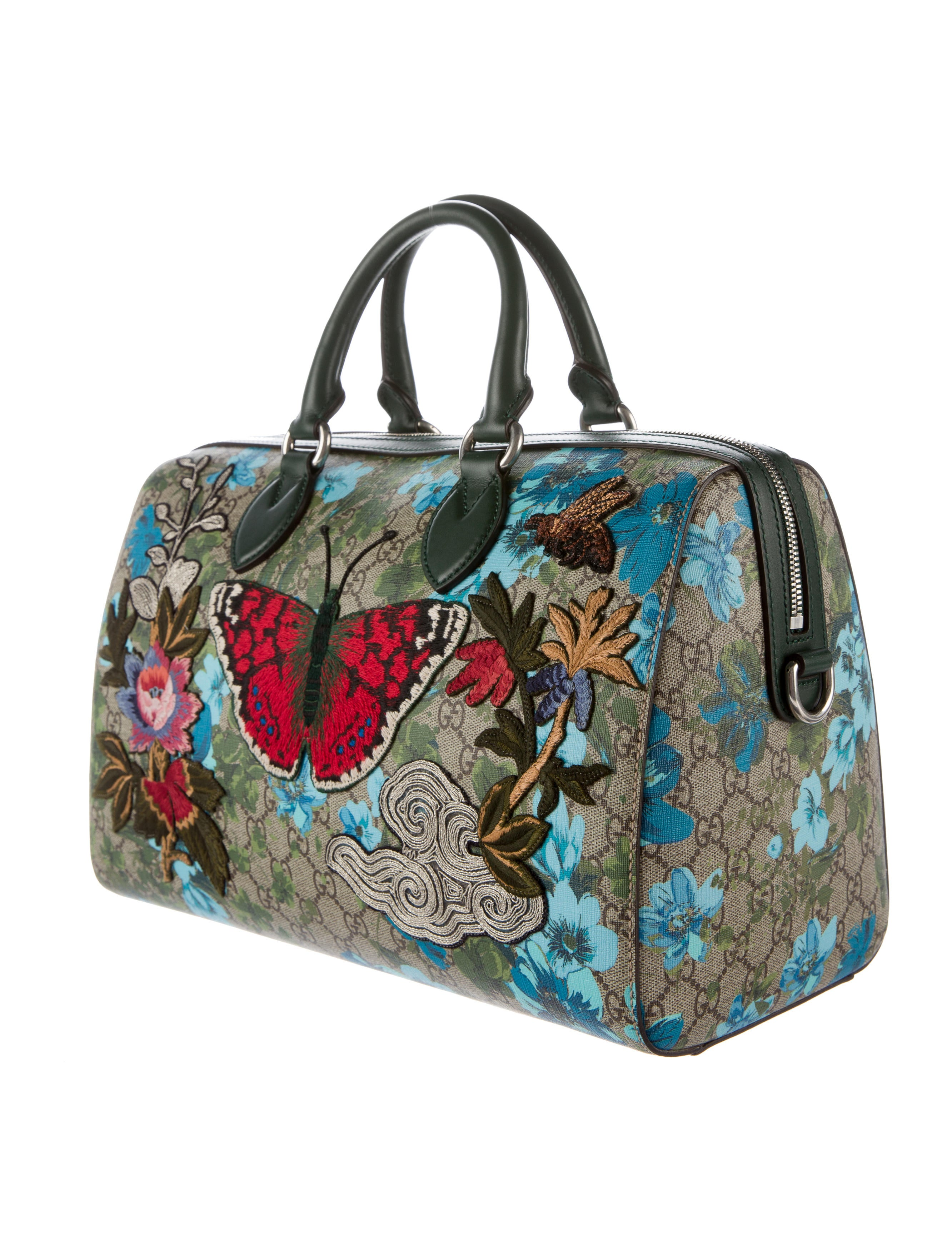 Gucci linea a butterfly embroidered boston bag w tags