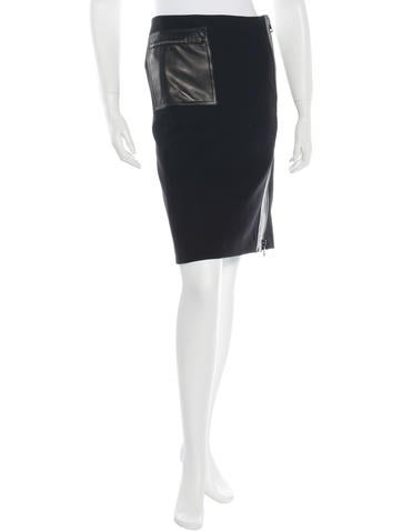 Gucci Leather-Accented Pencil Skirt None