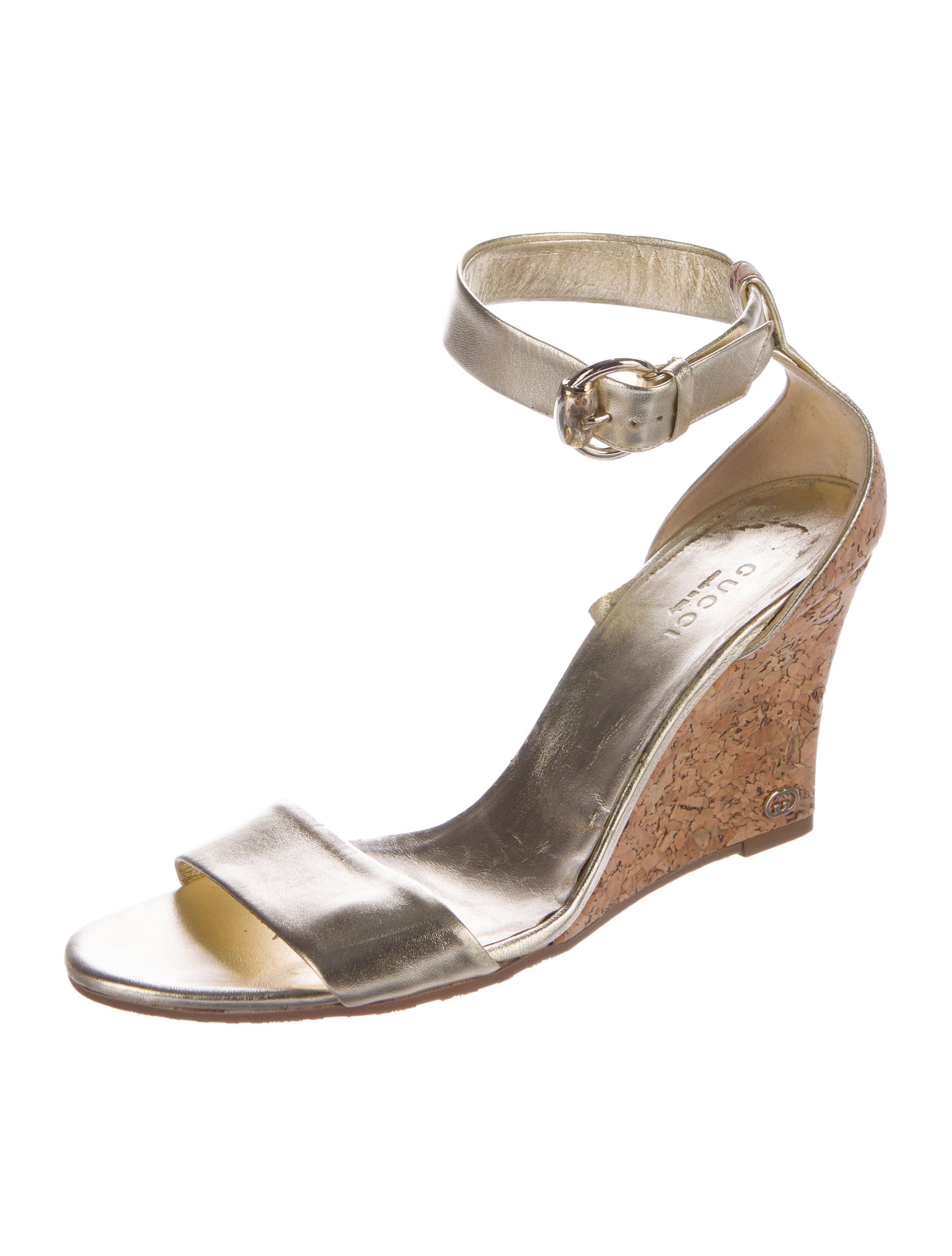 gucci metallic leather wedges shoes guc106990 the