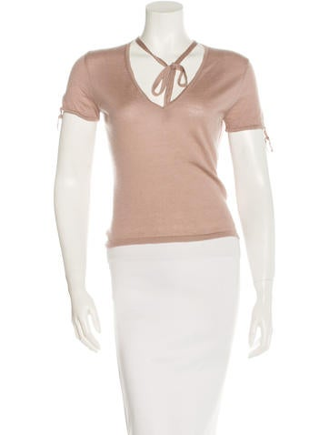 Gucci Bow-Accented V-Neck Top None