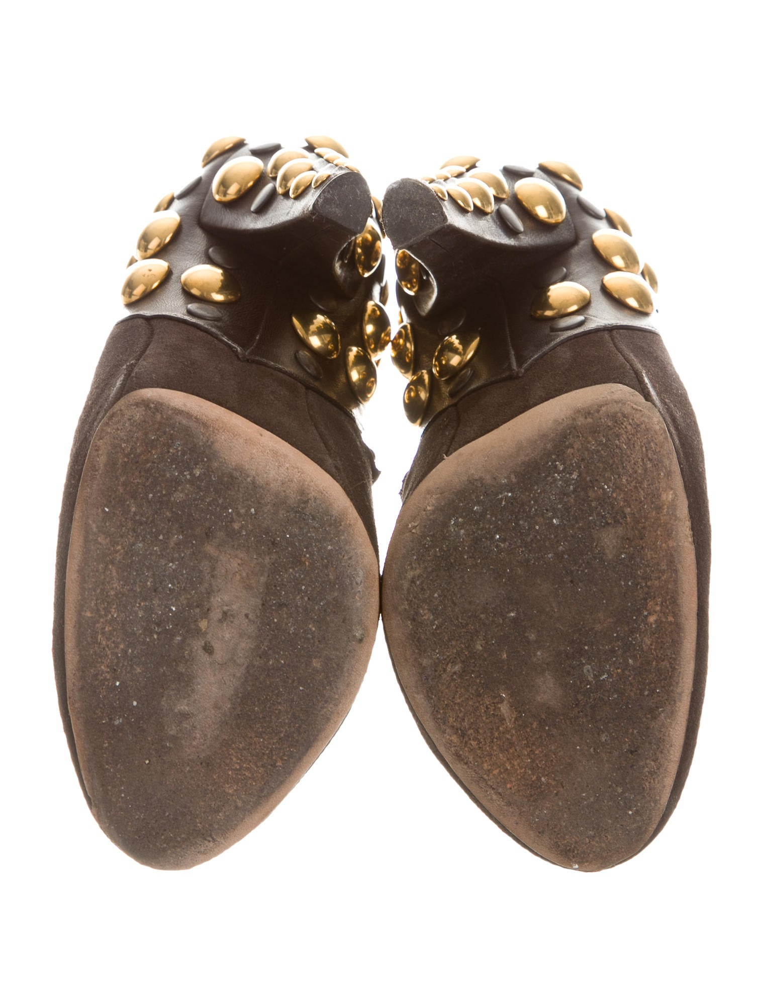 gucci suede studded booties shoes guc108085 the realreal