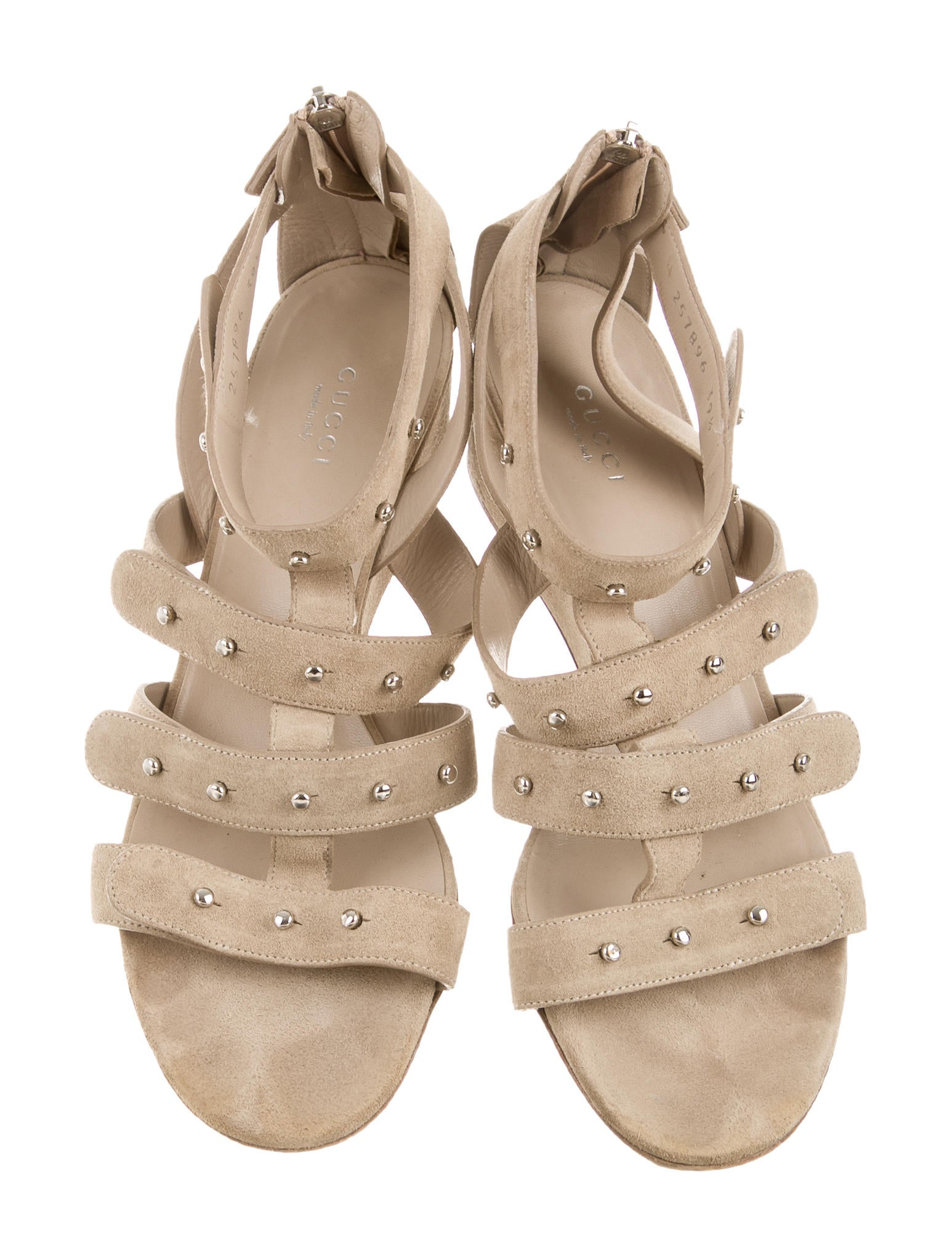 gucci suede studded sandals shoes guc108092 the realreal