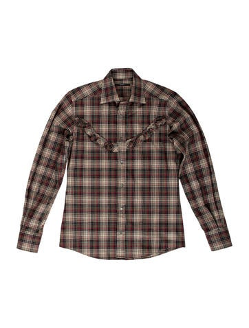 Gucci plaid wool flannel shirt clothing guc109129 for Mens wool flannel shirt