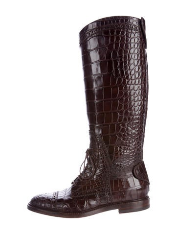 Gucci Crocodile Knee-High Boots None
