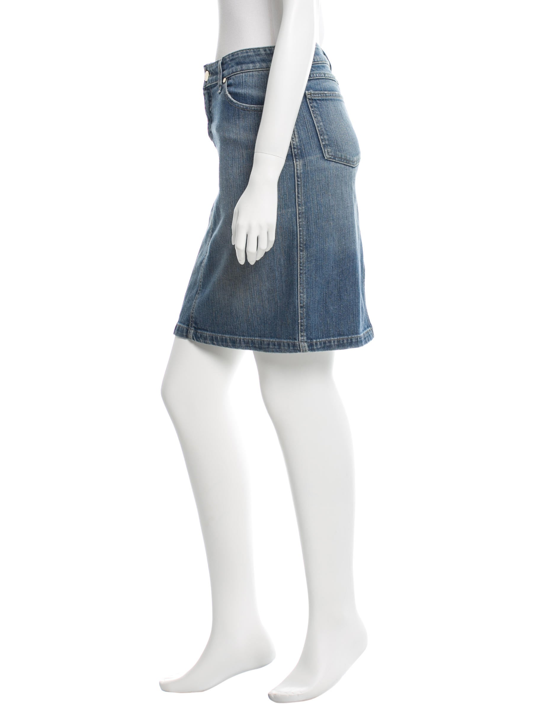 gucci denim pencil skirt clothing guc110475 the realreal