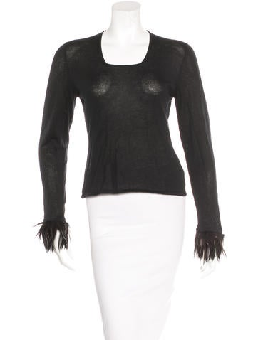 Gucci Cashmere Feather-Trimmed Top None