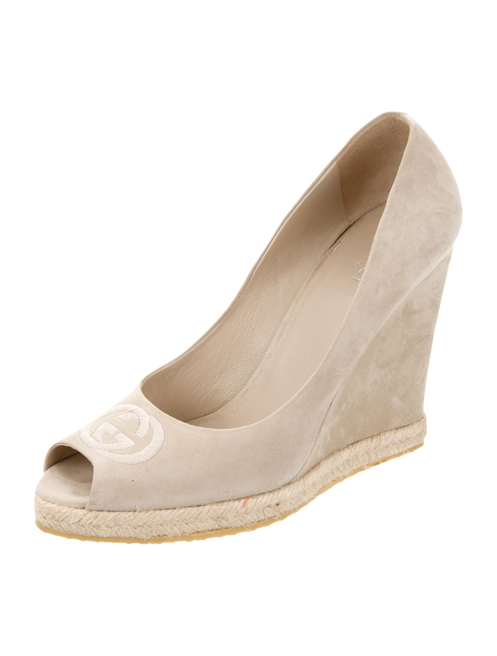 gucci gg peep toe wedges shoes guc113050 the realreal