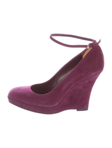 Gucci Suede Round-Toe Wedges None
