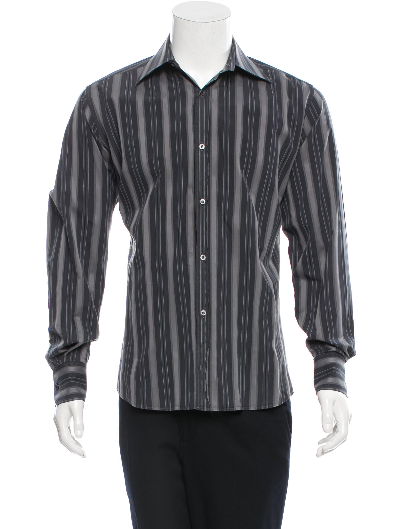Gucci striped button up shirt clothing guc113188 the for Striped button up shirt mens