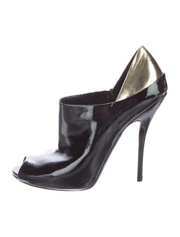 Gucci Peep-Toe Patent Leather Booties None