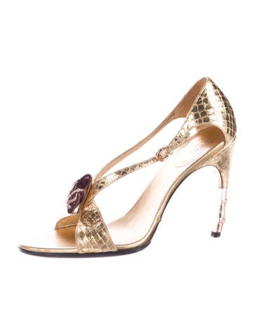 Embossed Metallic Sandals