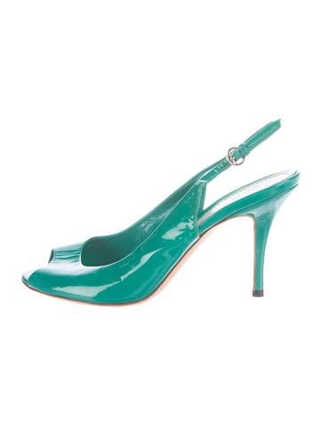 Gucci Patent Peep-Toe Sandals None