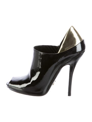 Gucci Patent Leather Peep-Toe Booties None