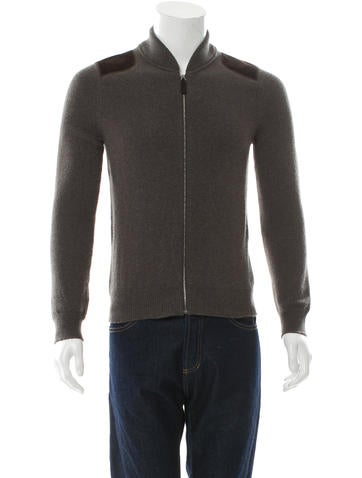 Gucci Suede-Paneled Cashmere Sweater None