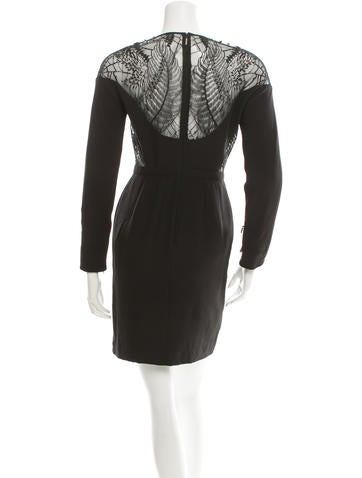 Lace-Accented Silk Dress
