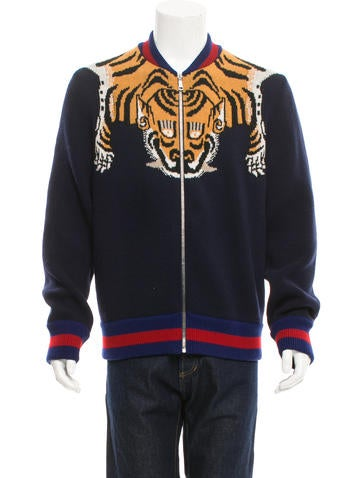 Gucci Tiger Web-Trimmed Sweater None