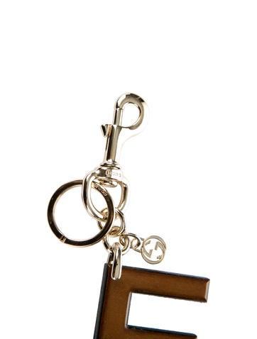 Jewel-Embellished Wooden Keychain