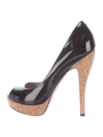 Gucci Patent Leather Peep-Toe Pumps None