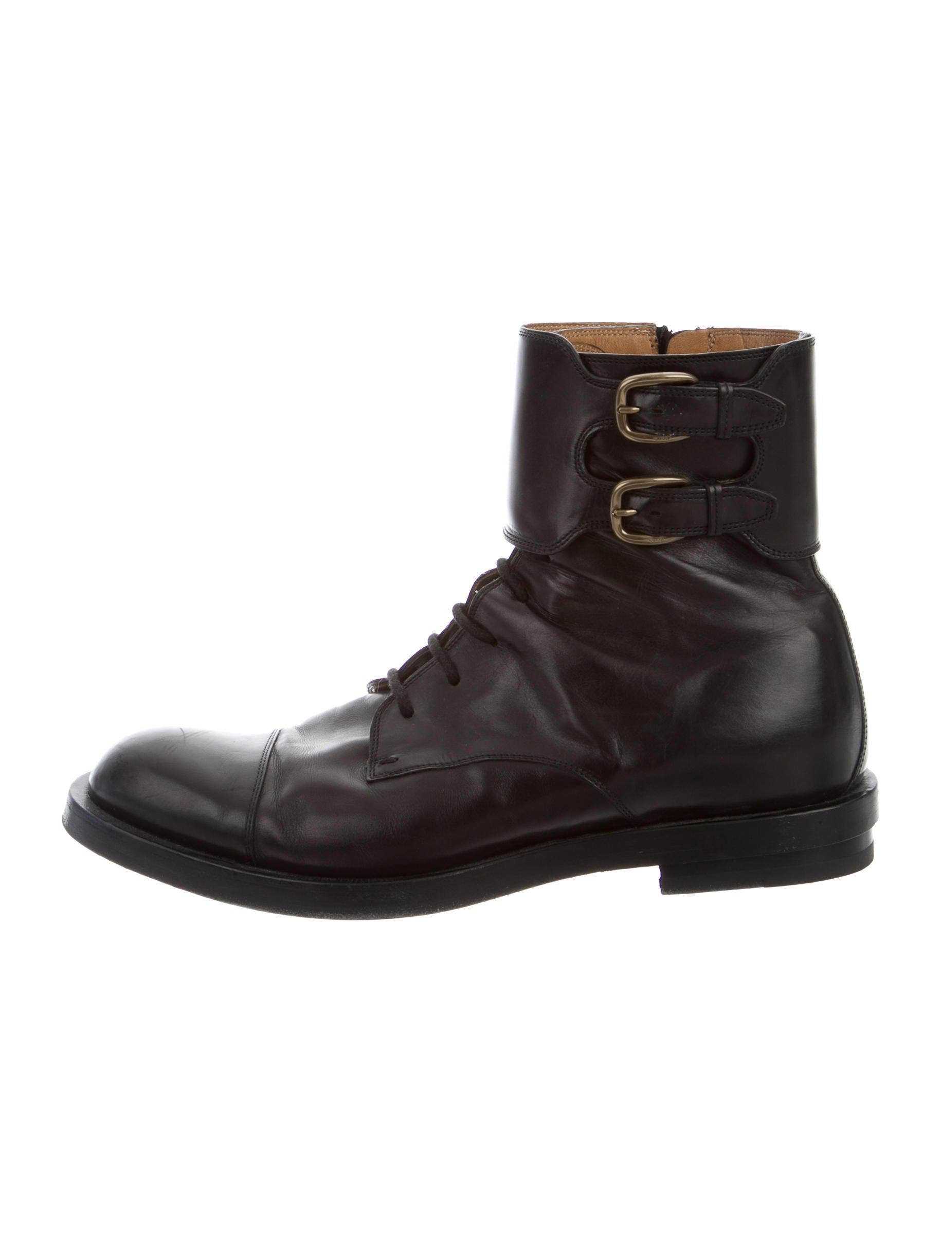 gucci leather combat boots shoes guc116459 the realreal