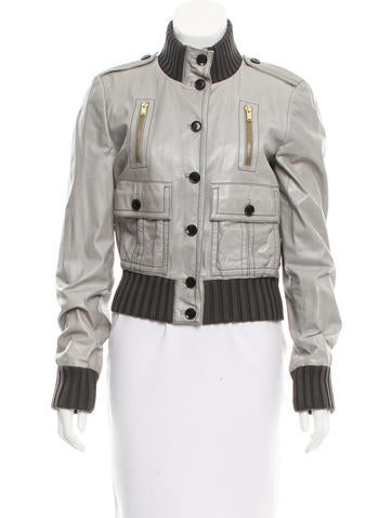 Gucci Rib Knit-Trimmed Leather Jacket None