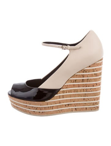 Gucci Leather Platform Wedges None