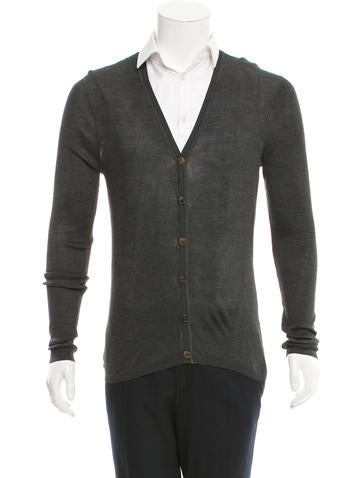 Gucci Silk Rib Knit Cardigan None