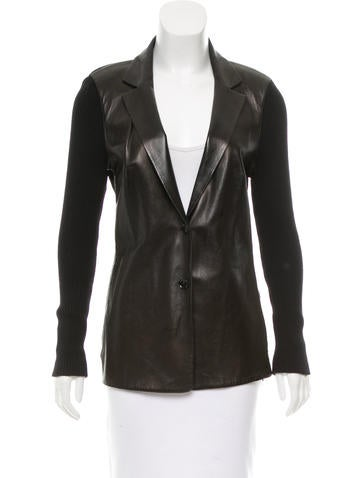 Gucci Leather-Accented Wool Blazer None
