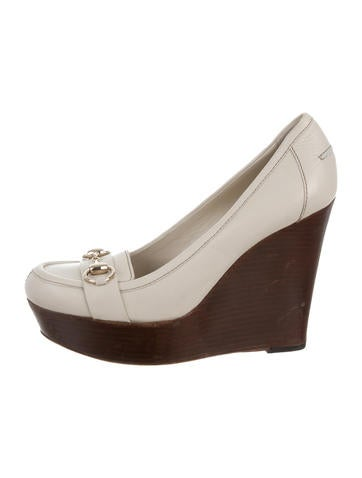 Gucci Leather Horsebit Wedges None