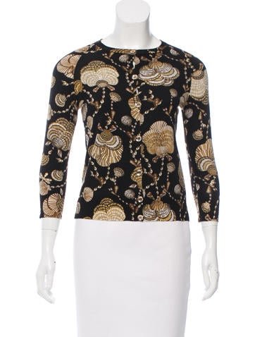 Gucci Cashmere Shell Print Cardigan