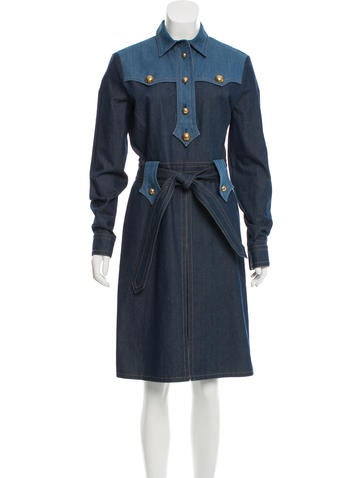 Gucci Tie-Accented Denim Dress