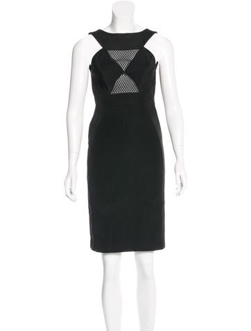 Gucci Mesh-Trimmed Knee-Length Dress None