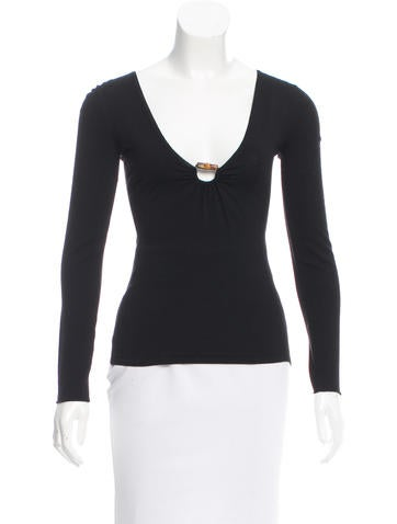 Gucci Wool Bamboo-Embellished Top None