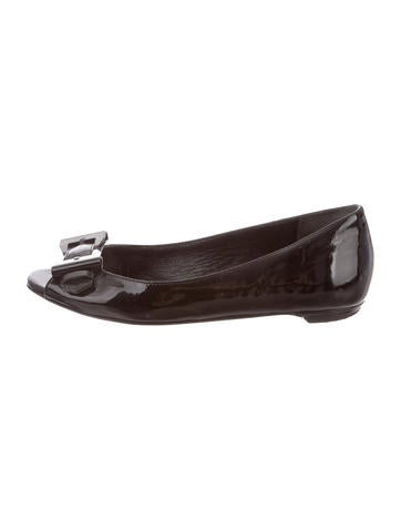 Gucci Patent Leather Peep-Toe Flats None