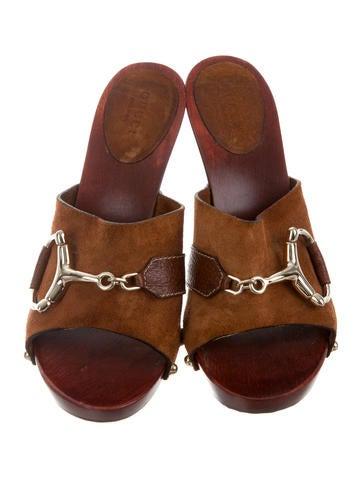 Suede Horsebit Slide Sandals