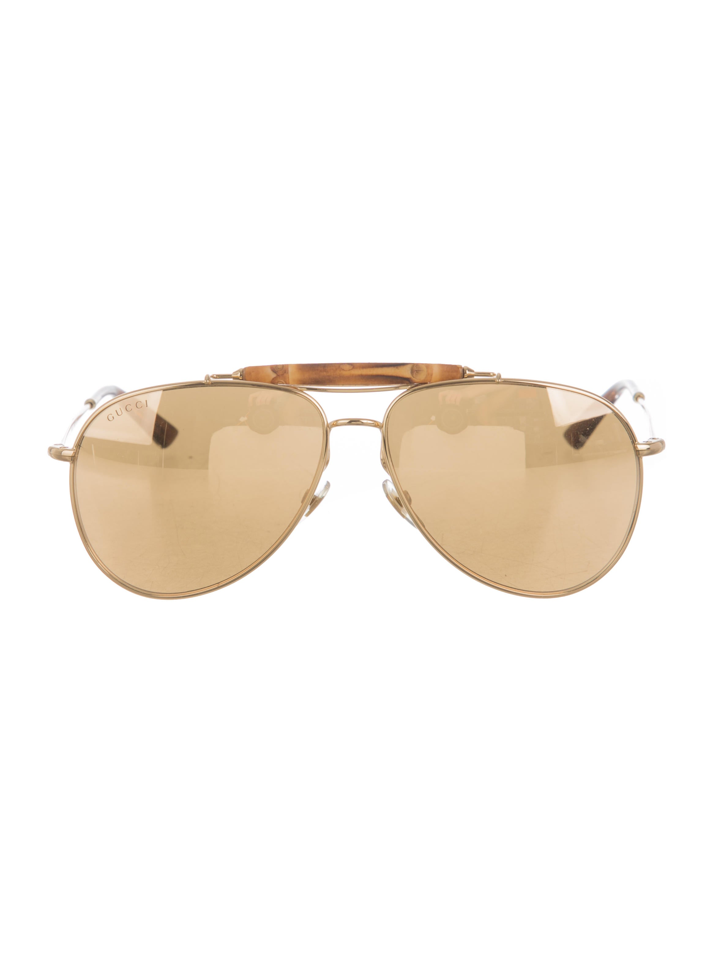 04e026e0d6 Gucci 24k Gold-Plated Aviator Sunglasses - Accessories - GUC123638 ...