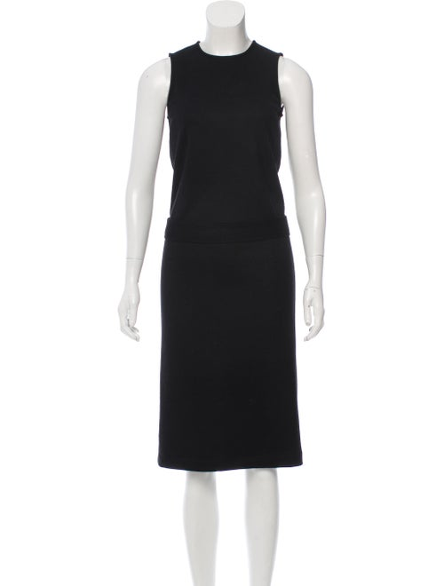 Gucci Belted Wool Dress Black