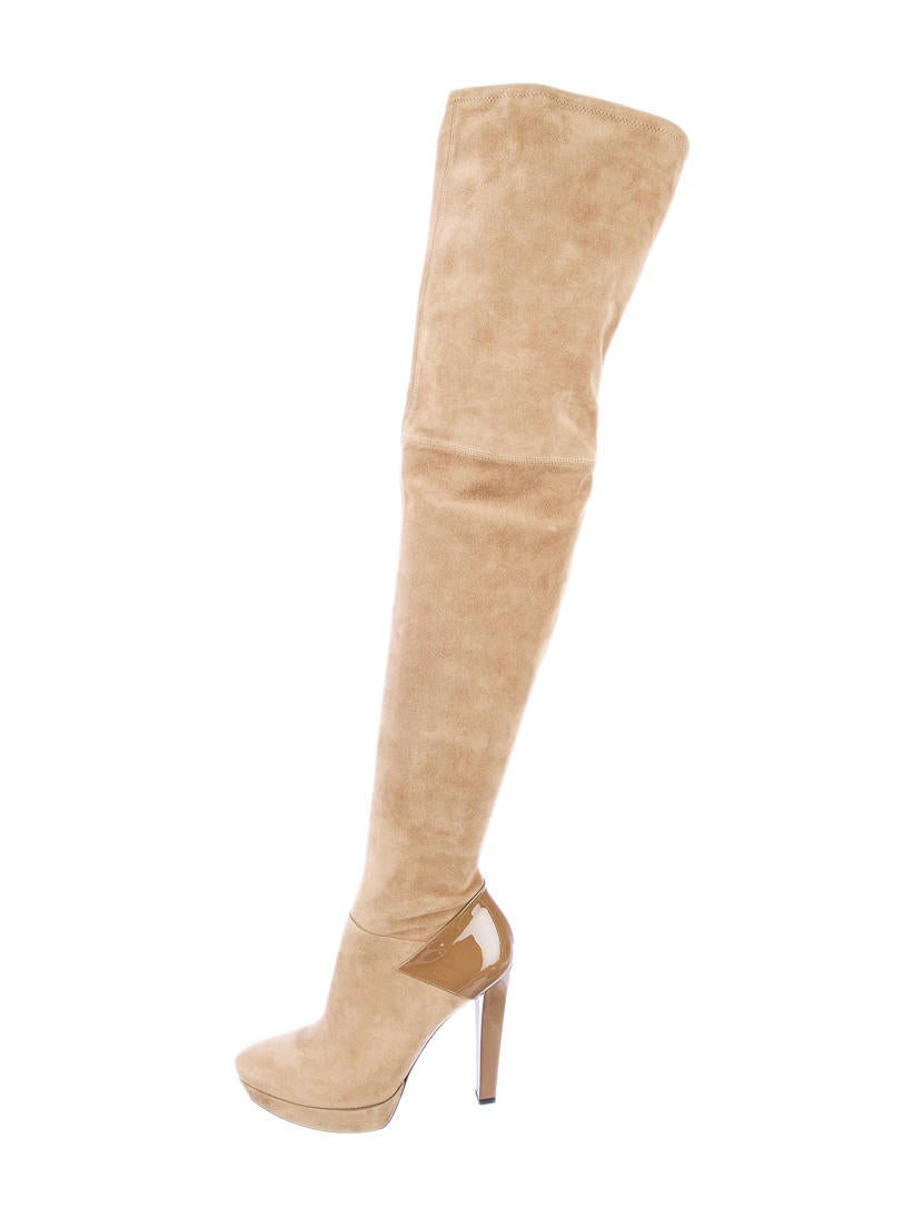Gucci Karen Suede Thigh-High Boots - Shoes - GUC12382 | The RealReal