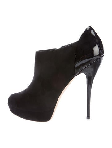 Gucci Leather Peep-Toe Booties None
