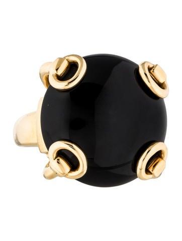 Gucci 18K Onyx Horsebit Cocktail Ring