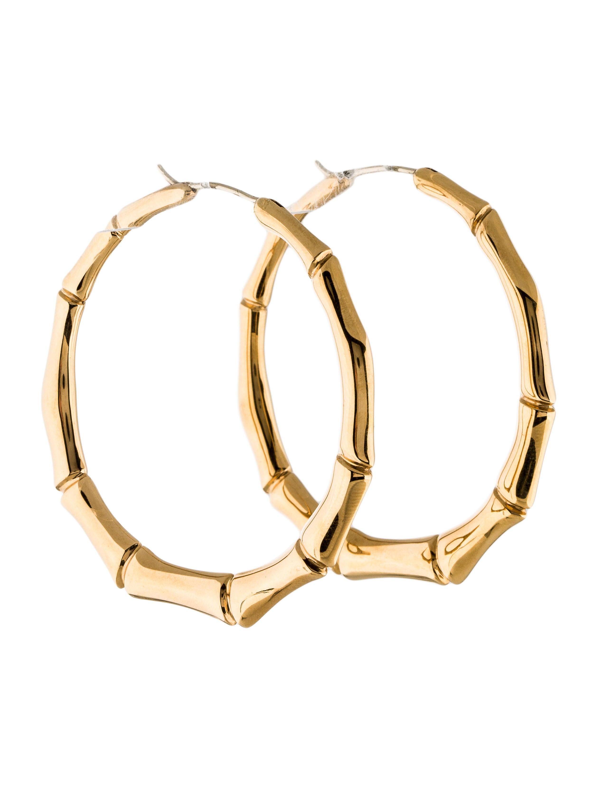 34d284fe7 Gucci 18K Bamboo Hoop Earrings - Earrings - GUC124023 | The RealReal