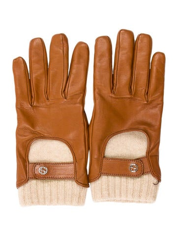 Gucci Cashmere-Lined Leather Gloves None