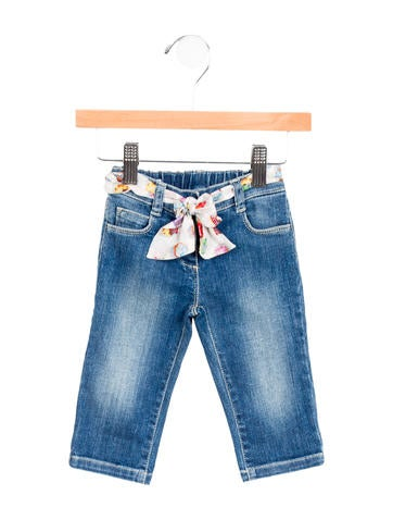 Gucci Girls' Belted Straight-Leg Jeans w/ Tags