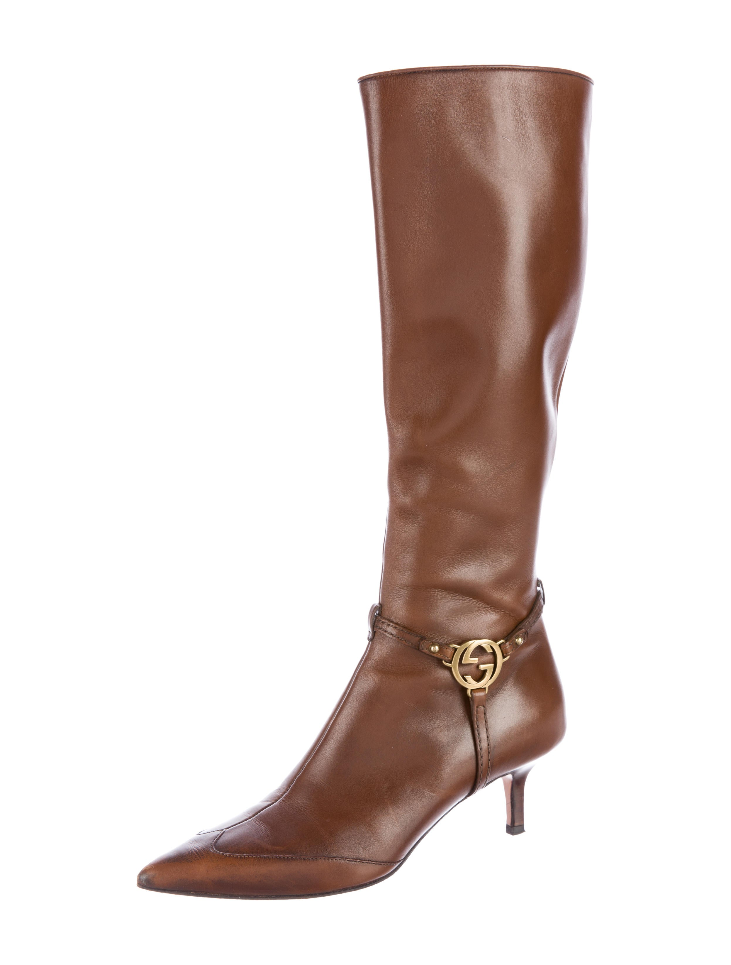 gucci gg leather boots shoes guc125398 the realreal