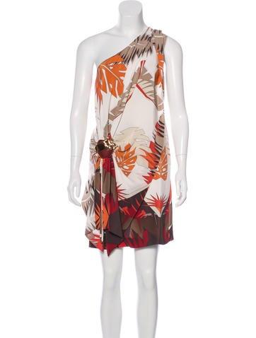 Gucci Palm Print One-Shoulder Dress