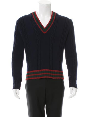 Gucci Wool Web-Trimmed Sweater None