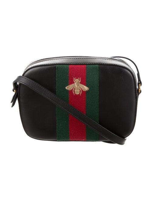 4b3e9a13a52 Gucci Webby Bee Embroidered Web Crossbody Bag - Handbags - GUC127175 ...
