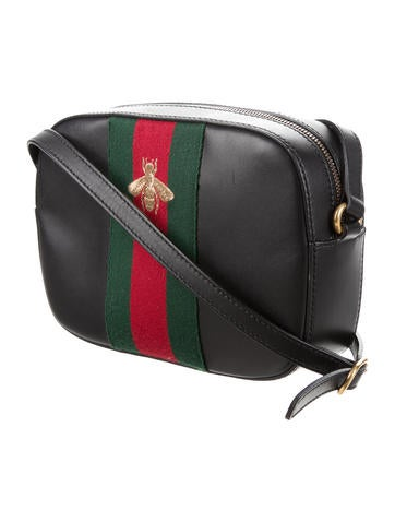 30a497316ee3 Gucci Webby Bee Embroidered Web Crossbody Bag - Handbags - GUC127175 | The  RealReal