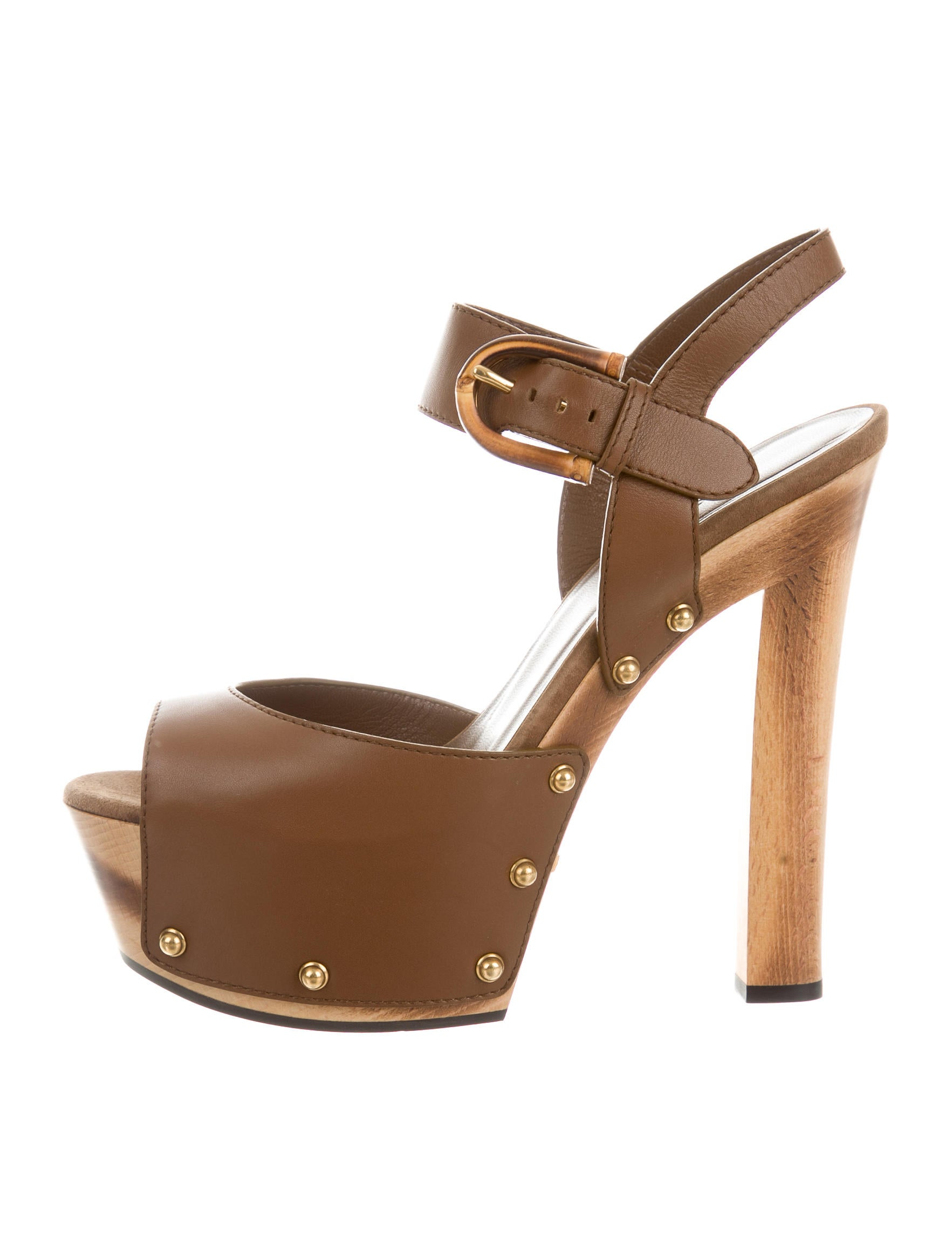 df6ca4c37b3 Gucci Leather Platform Ankle Strap Sandals - Shoes - GUC128336